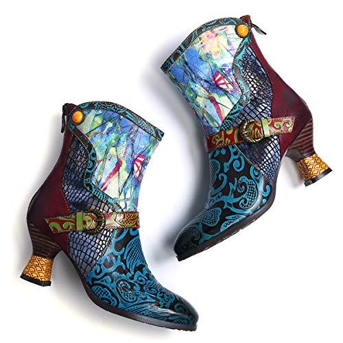 Camfosy Leren laarzen voor dames, bonte katjeshiel, korte laarzen, warme bont, gevoerd, elegante retro bloem, gezellige chunky rits, laarzen herfst winter.