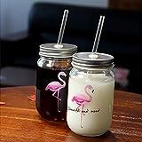 Tazas Mug Taza Creativo Flamingo Glass Mason Jar Mug Con Tapa Y Paja Bebida Fría Smoothie Cup Water Glass Cup, Mixed, 401