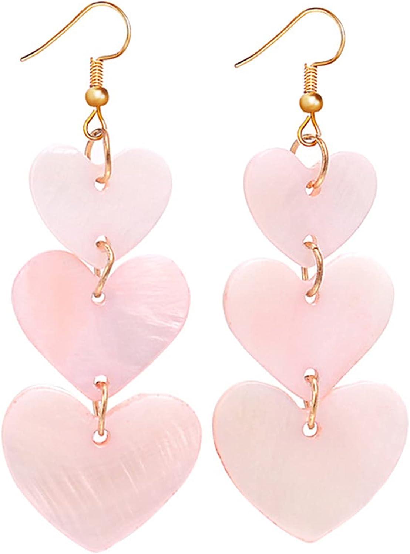 coadipress Acrylic Love Heart Earrings for Women Teen Girls Unique Lightweight Geometric Resin Three Pink Heart Dangle Drop Earrings Jewelry