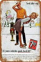 7UPソーダセクシービューティー10さびた錫のサインヴィンテージアルミニウムプラークアートポスター装飾面白い鉄の絵の個性安全標識警告アニメゲームフィルムバースクールカフェ40cm*30