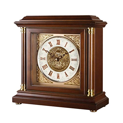 VHFGU Square Solid Wood Silent Clock European Style Hourly Mute Table Clock Living Room Hotel Desktop Decoration Timekeeping Tool