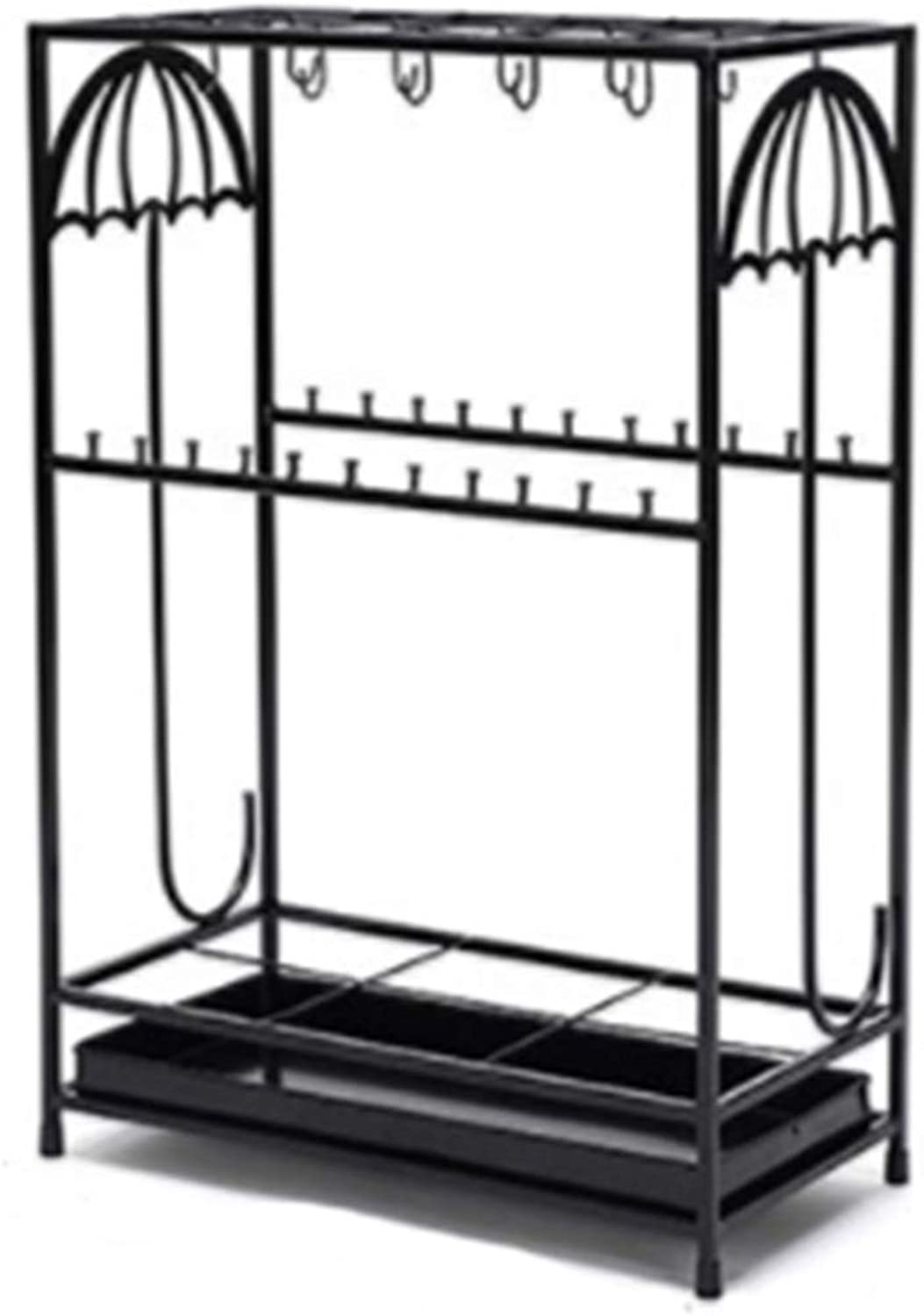 Achang Fashion Carved Wrought Iron Umbrella Stand Hotel Lobby Large Capacity Storage Rack (color   Black)