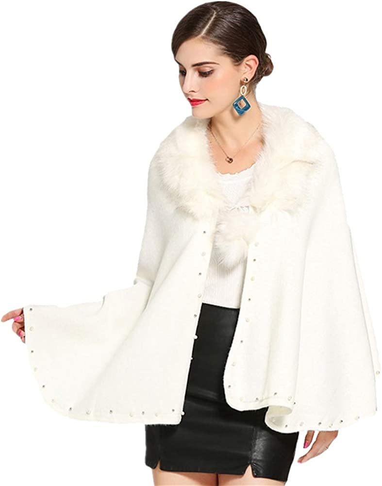 Icegrey Winter Womens Faux Fur mart Poncho Shawl Cape Wrap Cardigan W Las Vegas Mall
