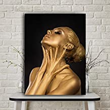 KFEKDT Gold Black Nude African Art Woman Oil Painting on Canvas Posters and Prints Scandinavian Cuadros Wall Picture for Living Room B 40x60CM