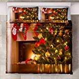 HYBWSO Funda nórdica Calcetines árbol de Navidad Verde Rojo Amarillo Juego de Cama 100% Microfibra,Fácil de cuidar.260cmx220cm Adecuado para Cuatro Estaciones.para niños Adolescentes