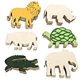 Plydolex 24 Pieces Unfinished Wooden Cutouts Jungle Animals Cutouts -6 Shapes of Craft Ornament - Safari Animals Cutouts Perfect As Ornament DIY and Wooden Paint Crafts for Kids