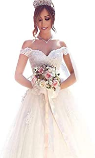 Yuxin Elegant Sweetheart Lace Ball Gown Wedding Dresses 2018 Off Shoulder Princess  Bridal Gowns 4ce9530bd1bd
