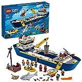LEGO 60266 City Le Bateau d'Exploration océanique, Jouet de Bateau Flottant, Ensemble sous-Marin, Aventure de plongée pour Enfants