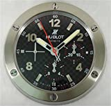 Hublot Silencioso Luminoso Sweep Reloj De Pared, Plata + Negro