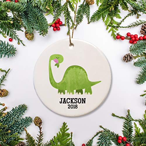 Dozili Dinosaur Kerstmis Ornament Gepersonaliseerde Brontosaurus Ornament Aquarel Diplodocus Ornament Baby'S 1e Kerstmis 2019