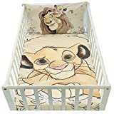 Housse de couette et taie d'oreiller pour lit bébé | Parure de lit le roi lion | linge de lit Disney