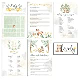 Lovely Celebrations: Woodland Themed Baby Shower Games Pack: Bingo, Matching Game, How Well do You Know Mommy?, Advice and Predictions, What's in Your Purse? 50 Each, 250 Pieces Total, Decorations