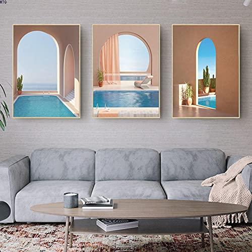 SSHABC Cartel de Arquitectura islámica Entrada Piscina Pintura Paisaje Impresión de Lienzo Puerta Musulmana Imagen de Arte de Pared Decoración Moderna para el hogar-40x60cmx3Pcs-Sin Marco