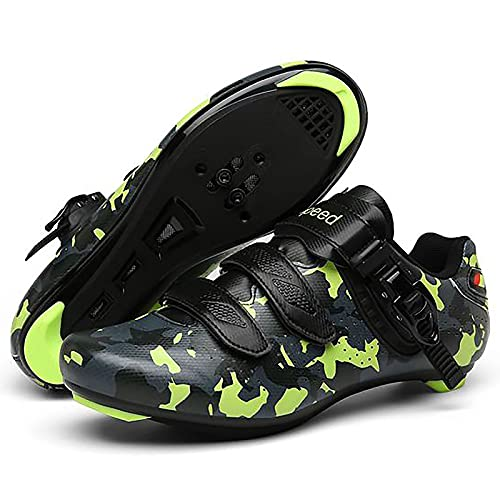 DSMGLRBGZ Zapatilla de Ciclismo, (36-47) con Hebilla de Zapato, Respirable Suela de Goma Luminiscente, Zapatillas de Hombre Mujer de Bicicleta de Carretera,Verde,42