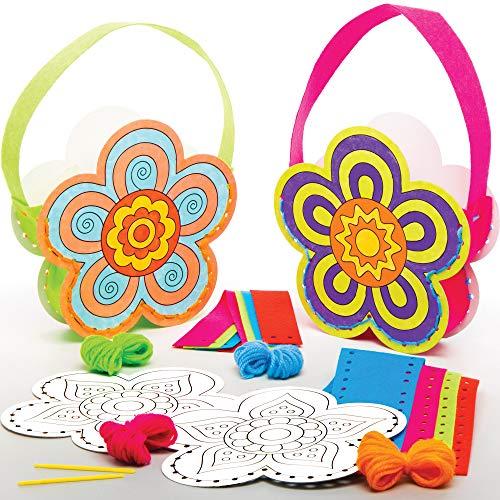 Baker Ross Blumen Handtaschen Nähset für Kinder zum Ausmalen (4 Stück) Kreativsets zum Basteln Dekorieren und Lernen zur Frühlingszeit AT381