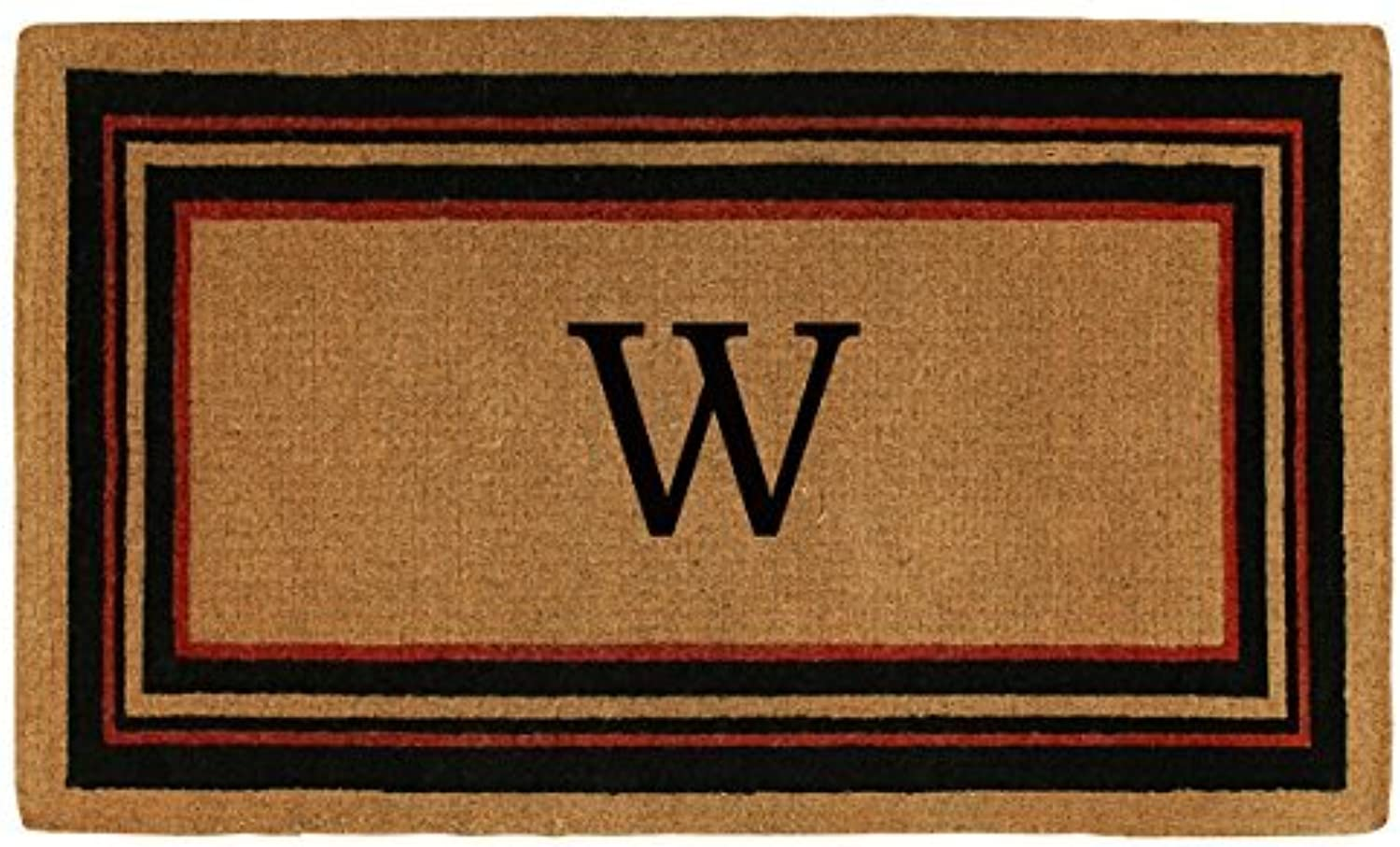 Home & More 180061830W Esquire Extra-Thick Doormat, 18  x 30  x 1.50 , Monogrammed Letter W, Natural Black Red