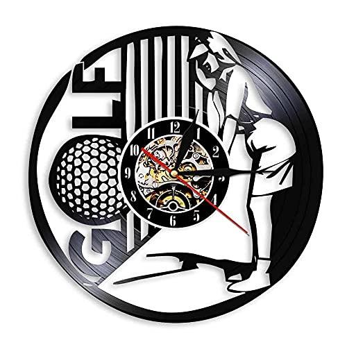 Nzlazbc Reloj de Vinilo Exclusivo para Jugar al Golf, Reloj Deportivo, Reloj de Pared, Arte silencioso, decoración del hogar, Regalo Original único para el Jugador de Golf