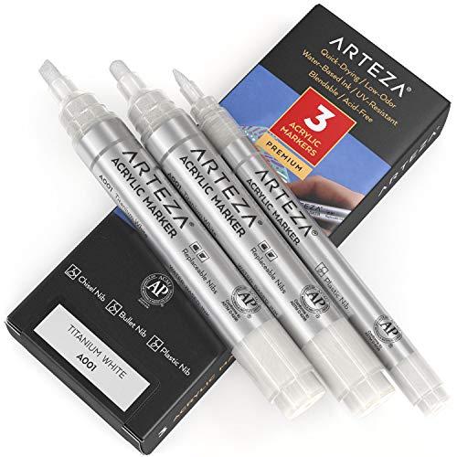 Arteza Rotuladores para pintar, pack de 3, A001 Blanco Titan