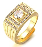 HALUKAKAH Anillo de Oro y Diamantes Iced out,Hombres Chapado en Oro Real de 18k Anillo Tamaño Ajustable con Gratis Caja de Regalo