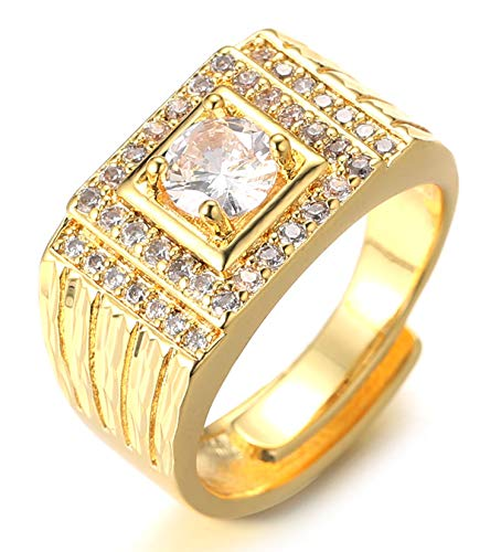 Halukakah Gold Diamond Ring Iced Out,Men's 18k Real Gold Plated Ring Size Adjustable with Free Giftbox