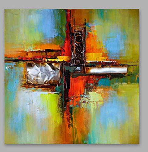 YHXIAOBAOZI Handgemaltes Ölgemälde 100% Handgemalt Abstrakte Landschaft Messer Malerei Schwarz Subwoofer Große Moderne Wohnkultur Kunst Für Wohnzimmer Eingang Schlafzimmer Büro-24×24Inch (60×60Cm)