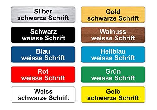 2x Briefkastenschild Klingelschild Türschild mit Wunschgravur - Name - selbstklend - viele Farben - UV- und Witterungsbeständig - Made in Germany