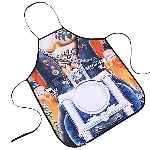 3D Delantales de pareja,Delantal impermeable,delantal sexy ,delantal de cocina,delantal cocina, delantal Divertido de Cocina, Sexy Novedad Cocina Barbacoa Fiesta Delantal Regalo-Motocicleta