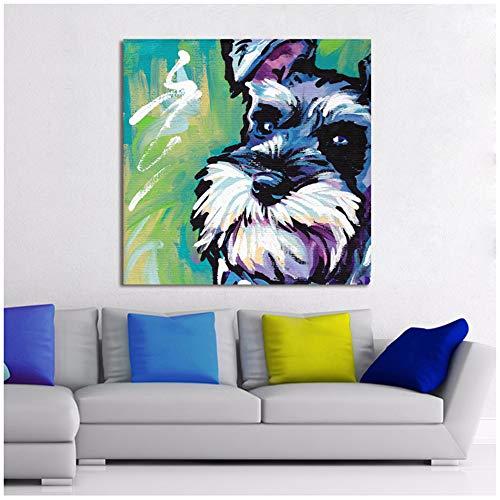 XIANGPEIFBH Animal Moderno Lienzo Abstracto Arte Pintura Schnauzer Perro Arte Pared Cuadros para Sala de Estar decoración para el hogar impresiones-50x50 cm sin Marco