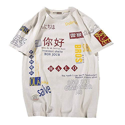 Factory Direct Sales EuropUPC, pareja americana y japonesa grande original estilo chino Hip Hop alojamiento original de manga corta al por mayor camiseta para hombre Blanco blanco XL