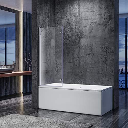 SONNI duschwand für badewanne 2 teilig Spritzschutz badewanne 120x140cm, Faltbar 6mm NANO-Klarglas duschabtrennung Duschtrennwand badewannenaufsatz