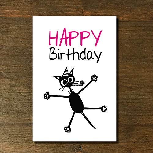 Karte, Grußkarte, Geburtstag, Glückwunsch, Katze, cat