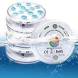 13-LED Unterwasser Licht IP68 Wasserdichtes Poolbeleuchtung mit Drahtlos Ferngesteuerten 16 Farbe RGB Hohe Helligkeit Dekorative Licht für Zuhause Pool Garten Teich Aquarium Home Partys(4 Stk)