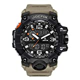 Herren Digitale Armbanduhr, Military Sport Analog-Digital Chronograph Uhren für Männer, Big, 56 mm Wasserdicht LED Harz Gurt Armbanduhr (Khaki)