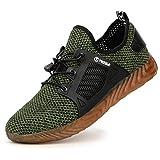 tqgold® Zapatillas de Seguridad Verano para Hombre Mujer Zapatos Trabajo con Punta de Acero Verde 45