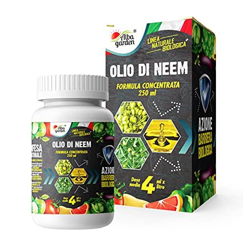 Albagarden - Olio di Neem Il Più Concentrato Da 250 ML Insetticida Fungicida Acaricida Aficida Naturale Per Controllo Afidi Cimici Pidocchi Ragnetto Cocciniglia Zanzare Repellente Per Piante x 250 ml