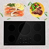 Empava 36' Electric Stove Induction Cooktop with 5 Power Boost Burners Smooth Surface Vitro Ceramic Glass in Black 240V, 36 Inch