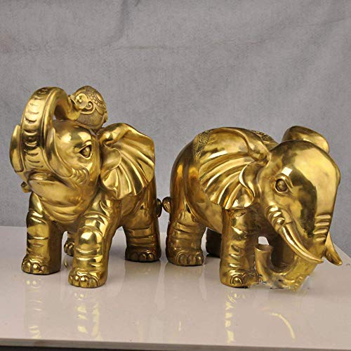 QWERWEFR Decoración del hogar 2 unids/Lote Chino Feng Shui Latón Elefantes Estatua Artículos de Tapicería Elefante Regalo de Negocios