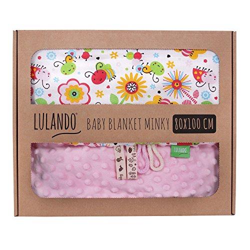 LULANDO Babydecke Kuscheldecke Krabbeldecke aus 100% Baumwolle (80x100 cm). Super weich und flauschig. Kuschelige Lieblingsdecke für Ihr Baby. Farbe: Pink - Bees