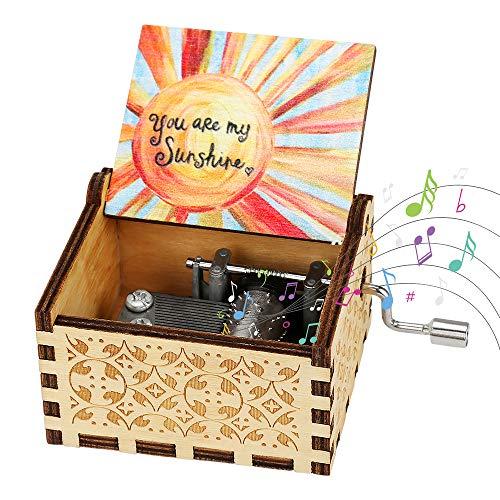 yideng Madera de la manivela Caja de música, Usted es mi Sol clásica Caja de música Tallada antigüedad Musical Box Mejor Regalo para el día de San valentín del cumpleaños de la Navidad