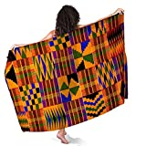 Ghana Kente Fabric African Print Tribal Sarong Wraps for Women Beach Swimsuit Cover Up Plus Size Pareo Pool Party Shawl Wrap Skirt Scarf for Swimming Vacation Pool
