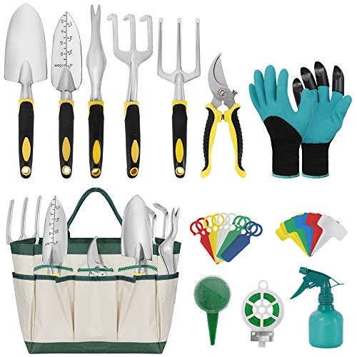 Garden Tools Set, 32Pcs Heavy Duty Aluminum Gardening Tools, Non-Slip Ergonomic Hand Digging Weeder Rake Shovel Trowel Sprayer Gloves Durable Storage Tote Bag, Gardening Gifts Tools for Men or Women