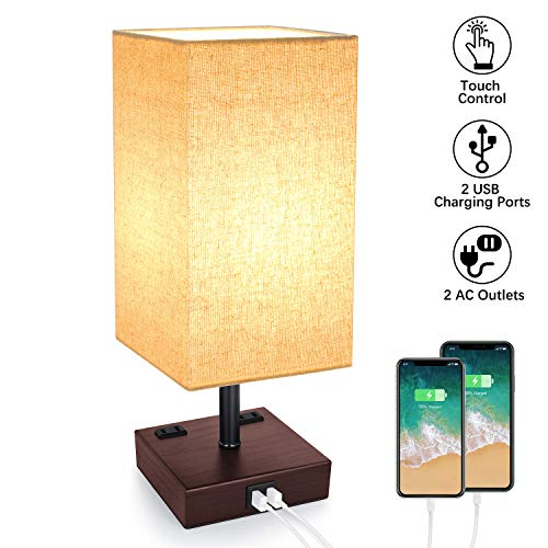 USB Table Lamp, 3-Way Dimmable Touch Control Lamp with 2 USB Charging Ports and 2 AC Outlets, Modern Bedside Lamp Nightstand Lamp for Bedroom Living Room Office, 60W Vintage LED Bulb Included