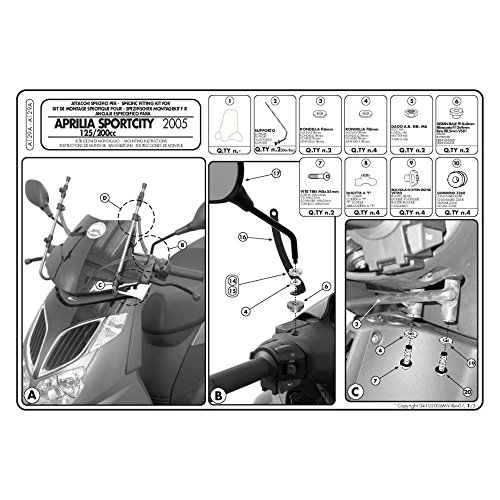 GIVI A129A Kit di attacchi specifico per 128A e 105A per APRILIA SPORTCITY 125 - 200 - 250 ( 04  08 )