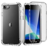 Hocase iPhone SE 2020 Case, Shockproof Heavy Duty Soft TPU Cover with Screen Protector Full Body Protective Case for iPhone SE 2/iPhone 8/iPhone 7/iPhone 6/6s with 4.7-inch Display - Crystal Clear