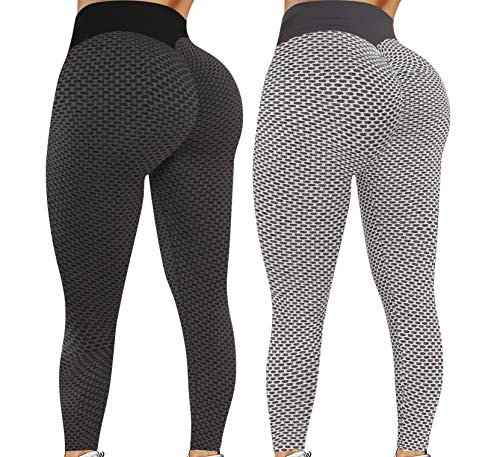 Leggings for Women Butt Lift - 2 Pack High Waist Yoga Pants for Women Tummy Control Slimming Booty Leggings Workout Athletic Running Butt Lifting Tights, Black+grey, XL