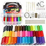 Magicfly Polymer Starter Kit, 45 Colors Oven 1.06 oz 5 Modeling Tools and 40 Jewelry Accessories Safe and Nontoxic DIY Baking Clay Blocks