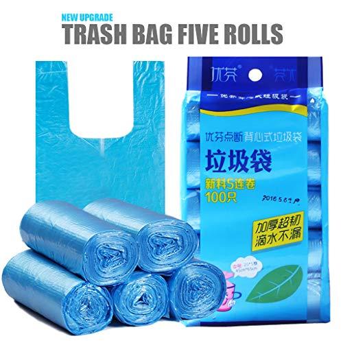 WARMWORD Handy Bag 62X45Cm, 100 Packs Trash Bags Waterproof Handbags (Violet)