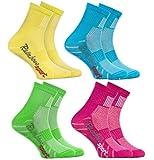 Rainbow Socks - Niño Niña Calcetines Deporte Colores Algodón - 4 Pares - Amarillo Turquesa Verde Rosa - Talla 30-35