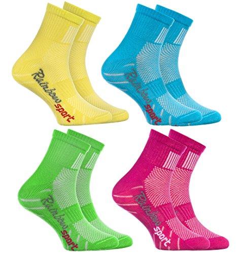 Rainbow Socks - Jungen Mädchen Sneaker Bunte Baumwolle Sport Socken - 4 Paar - Gelb Türkis Grün Rosa - Größen 30-35