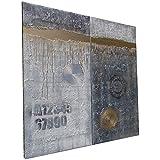 Blanco y negro y dorado Abstracto A241 - díptico industrial con textura, arte original, pinturas abstractas con textura del artista Ksavera